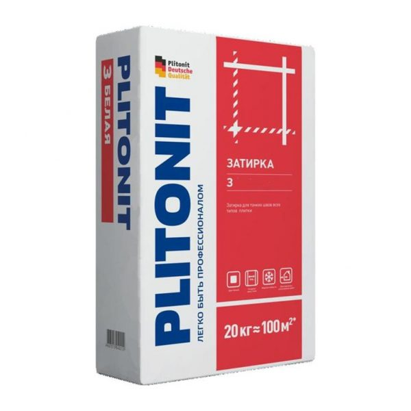 Затирка для плитки Плитонит 20 кг, белая
